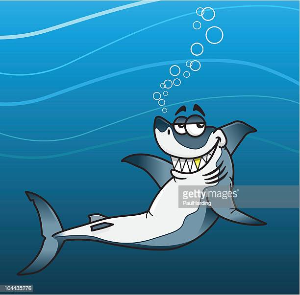 great white shark showing off his gold tooth - great white shark stock illustrations, clip art, cartoons, & icons