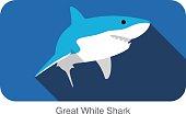 Great white shark swimming flat icon design