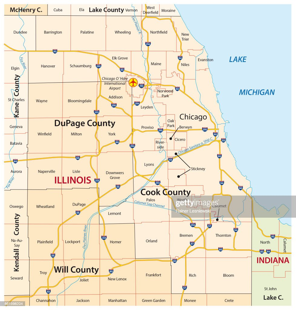 greater chicago, Illinois map