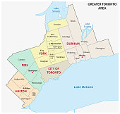 greater toronto area administrative and political map