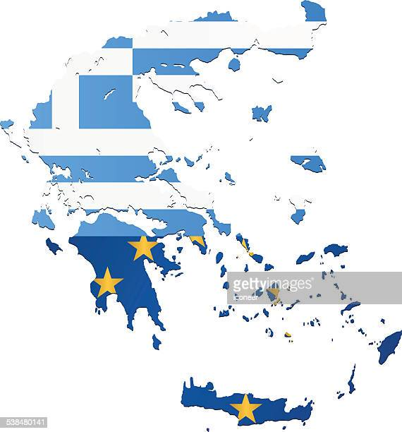 Greece and EU flag map blue on white background