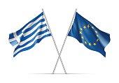 Greece and European Union waving flags