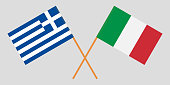 Greece and Italy. Crossed Greek and Italian flags. Official colors. Correct proportion. Vector