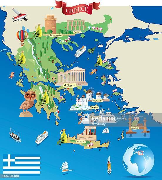 greece cartoon map - santorini stock illustrations
