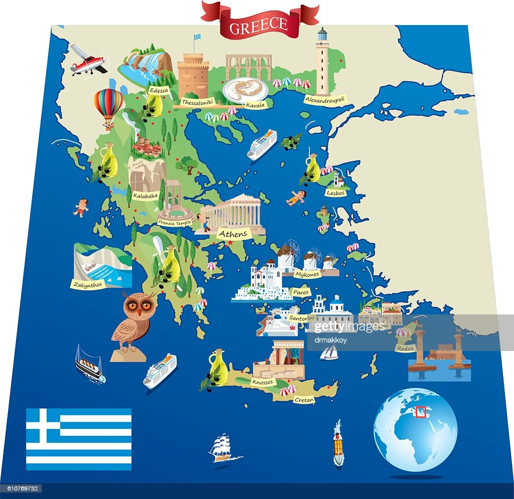 Greece Cartoon Map Vector Art | Getty Images