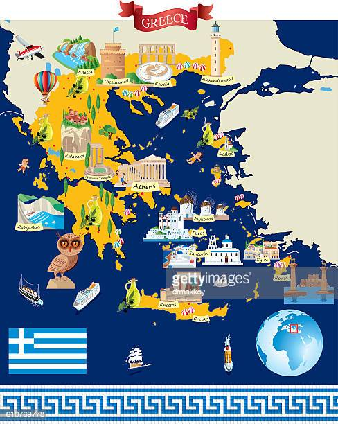 greece cartoon map - volcanic crater stock illustrations, clip art, cartoons, & icons