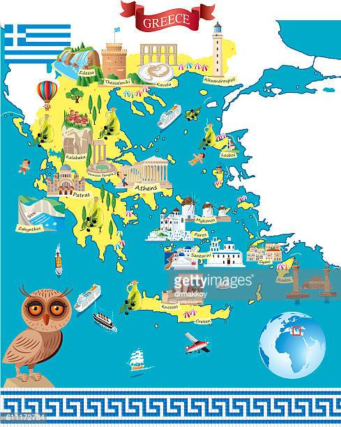 Greece Cartoon Map