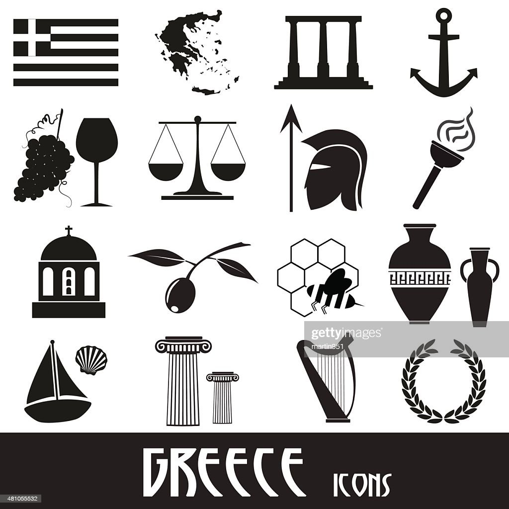 greece country theme symbols and icons set eps10