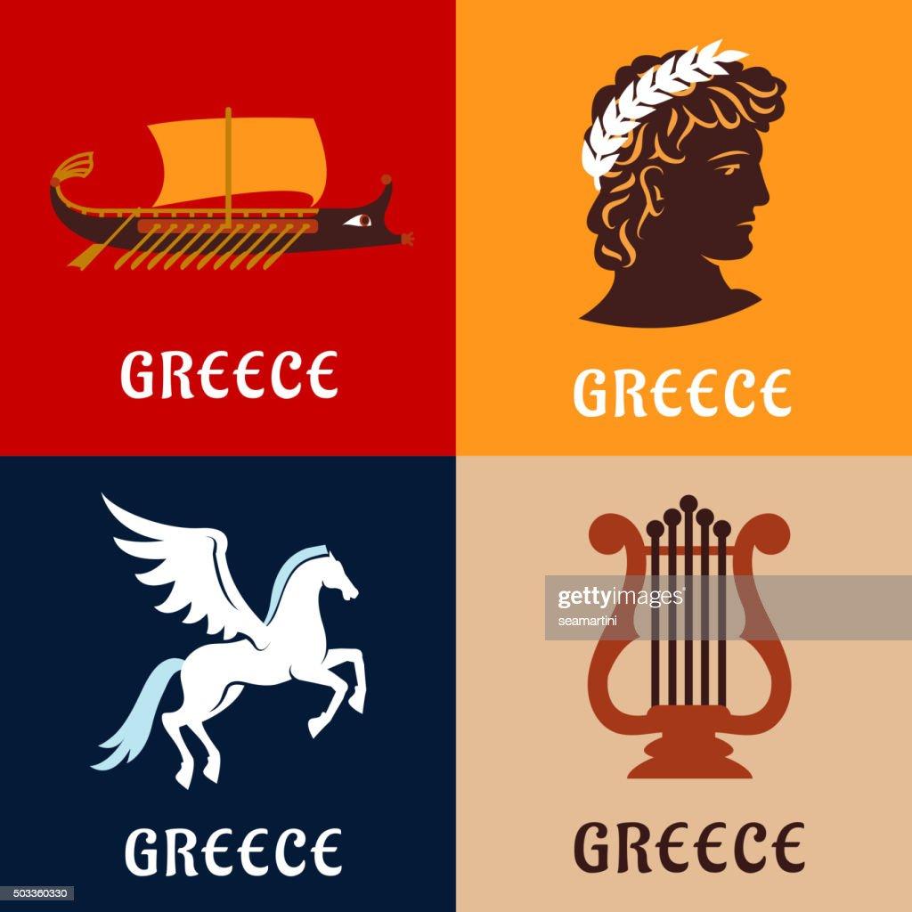Greece culture, history and mythology icons