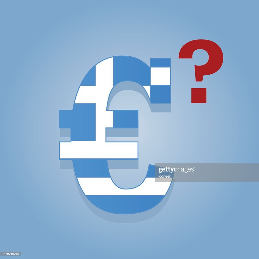 Greece Flag In Euro Symbol On Blue Background Vector Art Getty Images