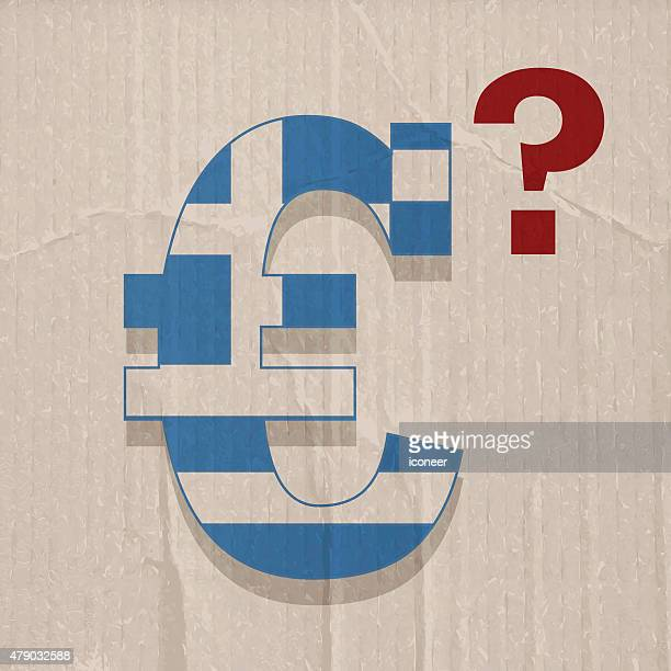 greece flag in euro symbol on cardboard background - greek islands stock illustrations, clip art, cartoons, & icons