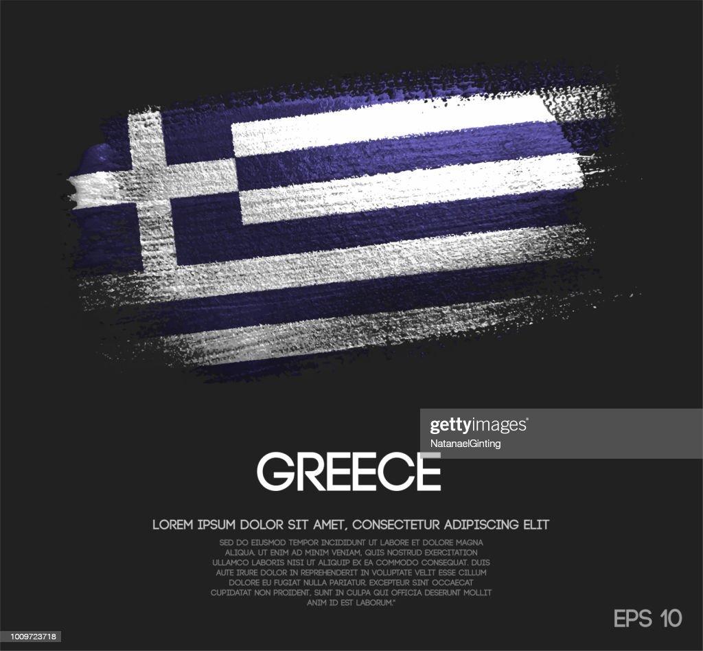 Greece Flag Made of Glitter Sparkle Brush Paint Vector
