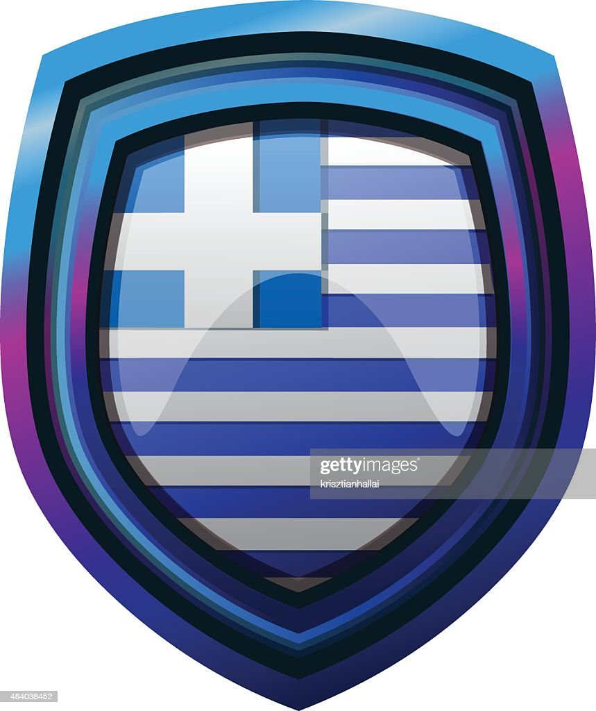 Greece Flag on Shield, Vector Illustration.
