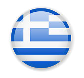 Greece flag. Round bright Icon on a white background