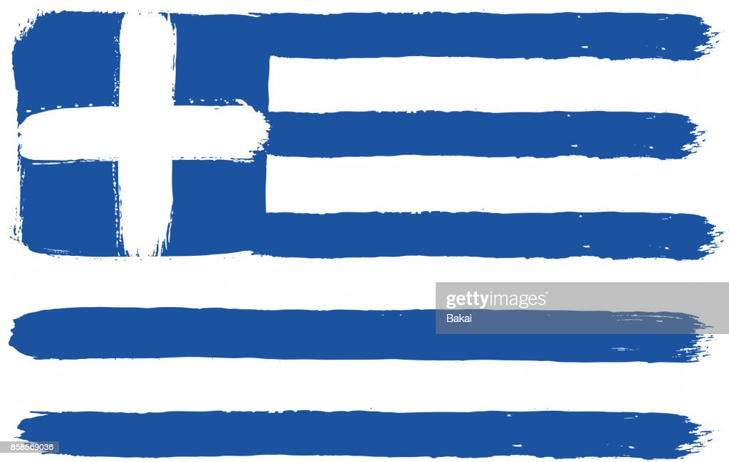 Greece Flag Vector Hand Painted with Rounded Brush