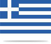 Greece Flag With Shadow
