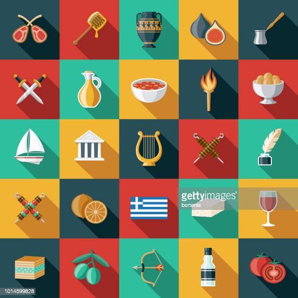 greece flat design icon set - vase stock illustrations, clip art, cartoons, & icons