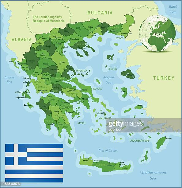 greece - green highly detailed map - sparta greece stock illustrations, clip art, cartoons, & icons