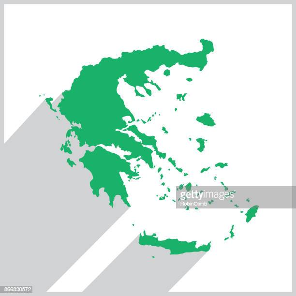 greece green map icon - greek islands stock illustrations, clip art, cartoons, & icons