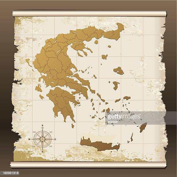 greece grunge map - greek islands stock illustrations, clip art, cartoons, & icons