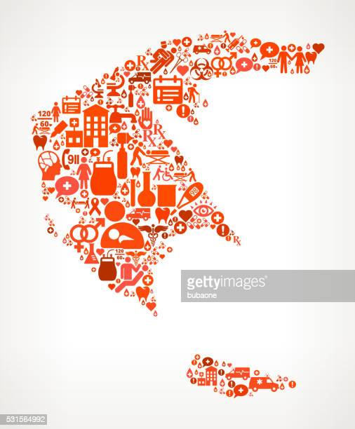 greece healthcare and medical red icon pattern - cardiac conduction system stock illustrations