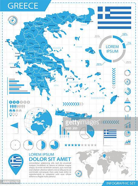 greece - infographic map - illustration - greek islands stock illustrations, clip art, cartoons, & icons