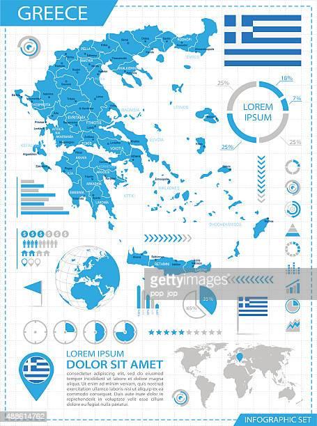 ilustrações, clipart, desenhos animados e ícones de grécia-infográfico mapa-ilustração - lacônia grécia