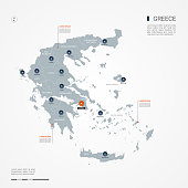 Greece infographic map vector illustration.