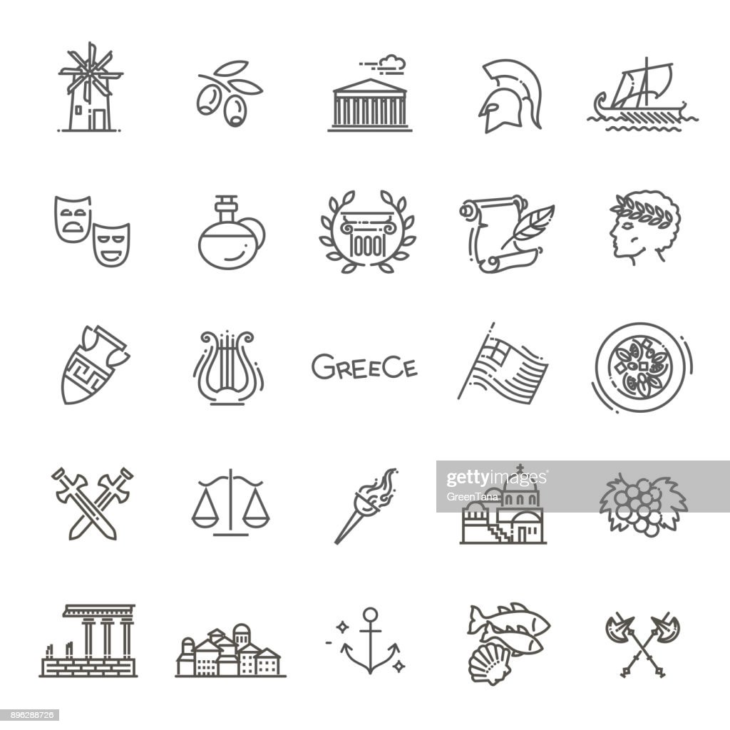 Greece line icon set.Vector