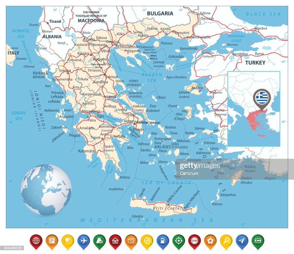 Greece Map and Colorful Map Markers