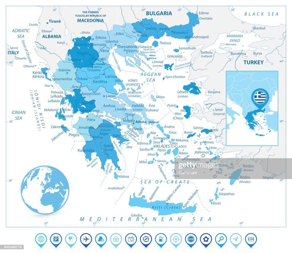 Greece Map and Map Markers in Colors of Blue
