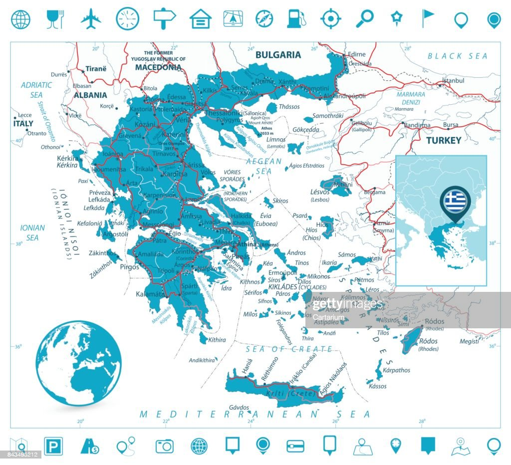 Greece Map and Navigation Icons