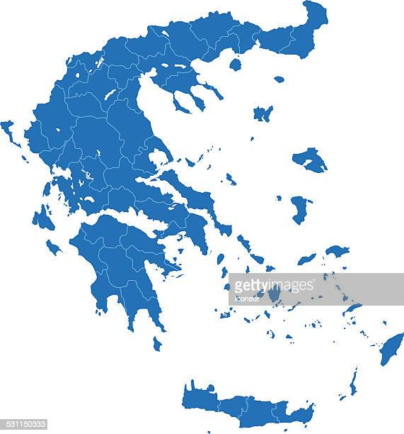 greece map blue on white background - greek islands stock illustrations, clip art, cartoons, & icons