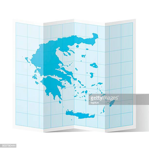 greece map folded, isolated on white background - athens georgia stock illustrations, clip art, cartoons, & icons