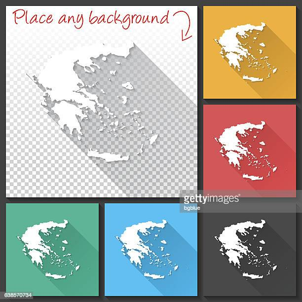 greece map for design, long shadow, flat design - athens georgia stock illustrations, clip art, cartoons, & icons