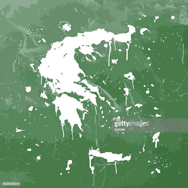 greece map graffiti green splats on green wall - greek islands stock illustrations, clip art, cartoons, & icons