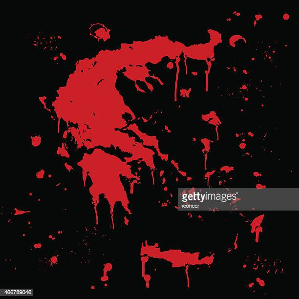 ギリシャマップのグラフィティレッド splats に黒色の壁 - 血しぶき点のイラスト素材/クリップアート素材/マンガ素材/アイコン素材