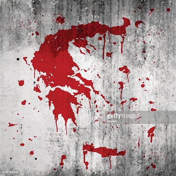 ギリシャマップグラフィティ splats グランジの壁を赤色 - 血しぶき点のイラスト素材/クリップアート素材/マンガ素材/アイコン素材