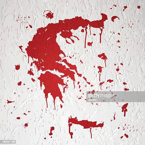 ギリシャマップの赤い splats にグラフィティの白い壁 - 血しぶき点のイラスト素材/クリップアート素材/マンガ素材/アイコン素材
