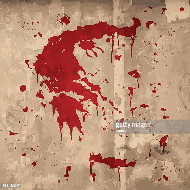 Greece map graffiti red splats on wooden plank