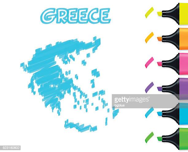 greece map hand drawn on white background, blue highlighter - athens georgia stock illustrations, clip art, cartoons, & icons