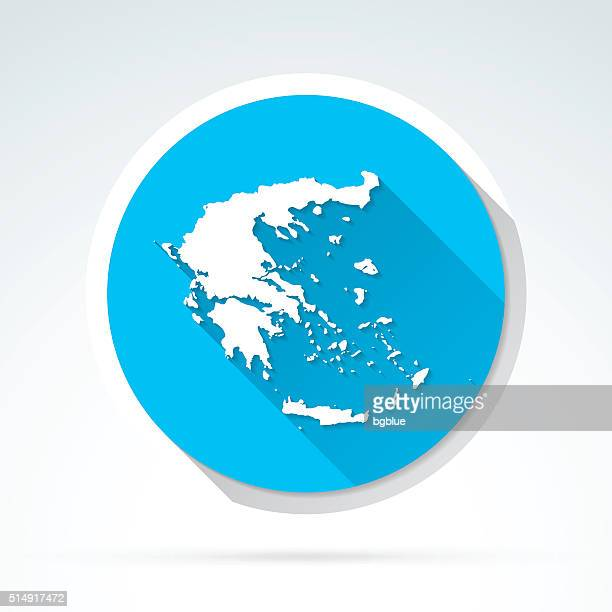 greece map icon, flat design, long shadow - athens georgia stock illustrations, clip art, cartoons, & icons