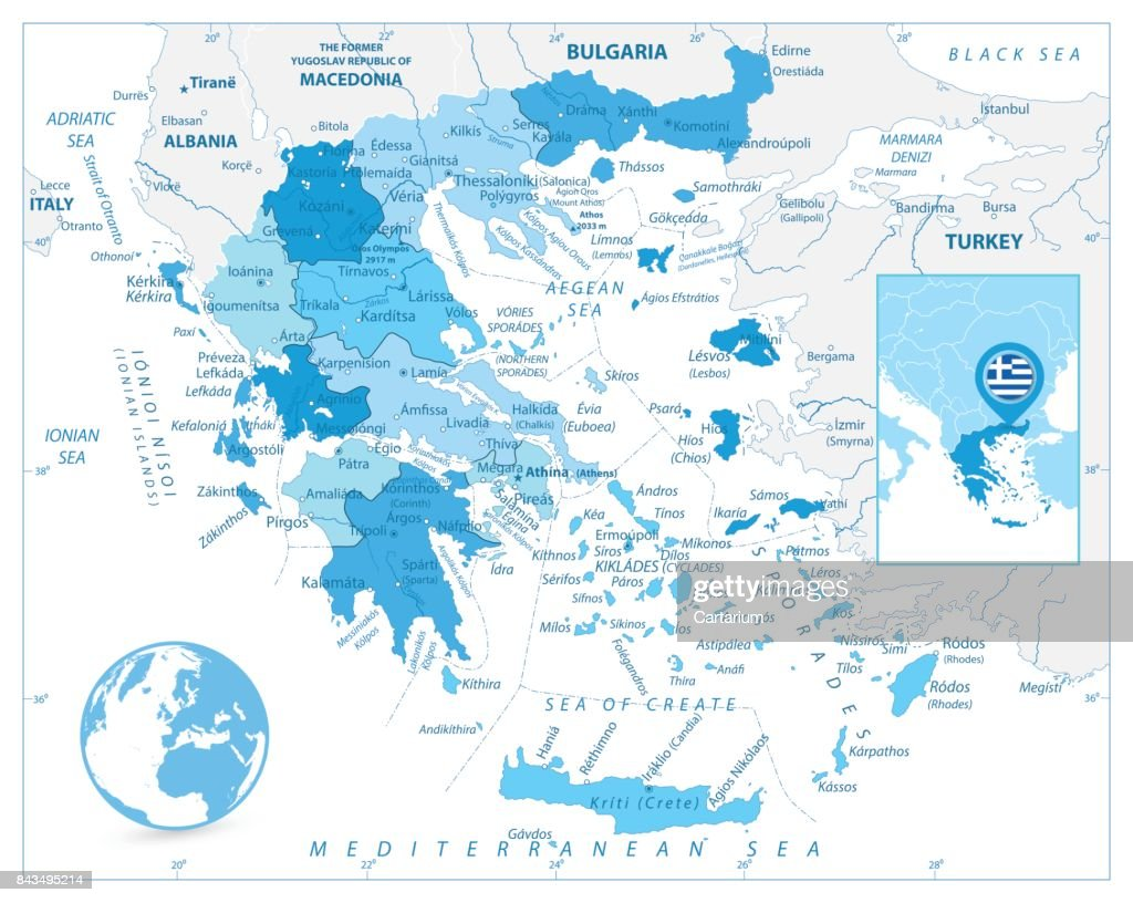 Greece Map in Colors of Blue