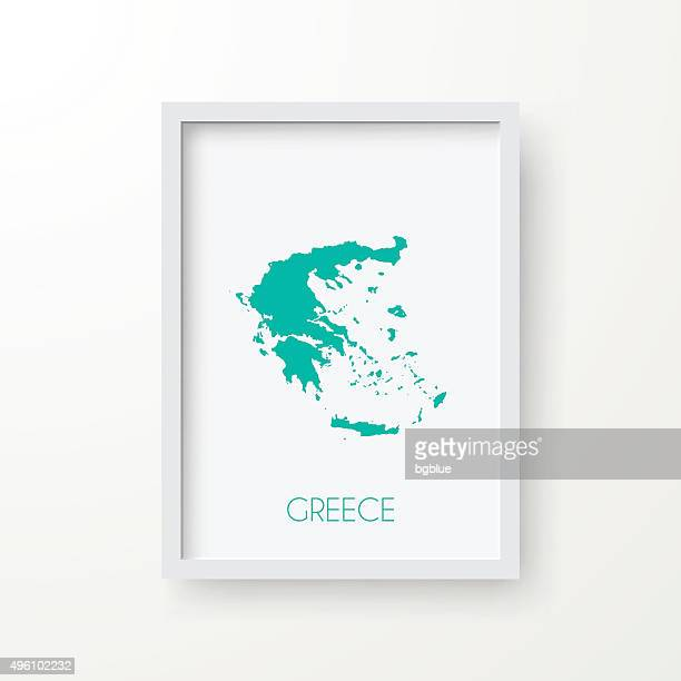 Greece Map in Frame on White Background