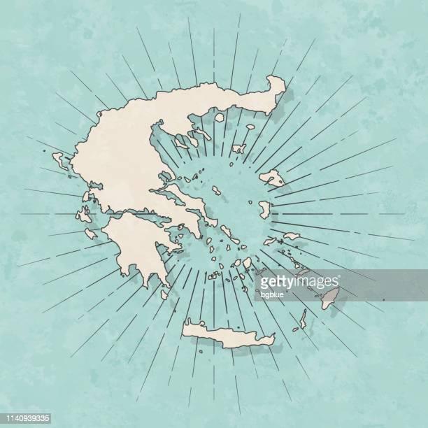 illustrazioni stock, clip art, cartoni animati e icone di tendenza di greece map in retro vintage style - old textured paper - grecia stato