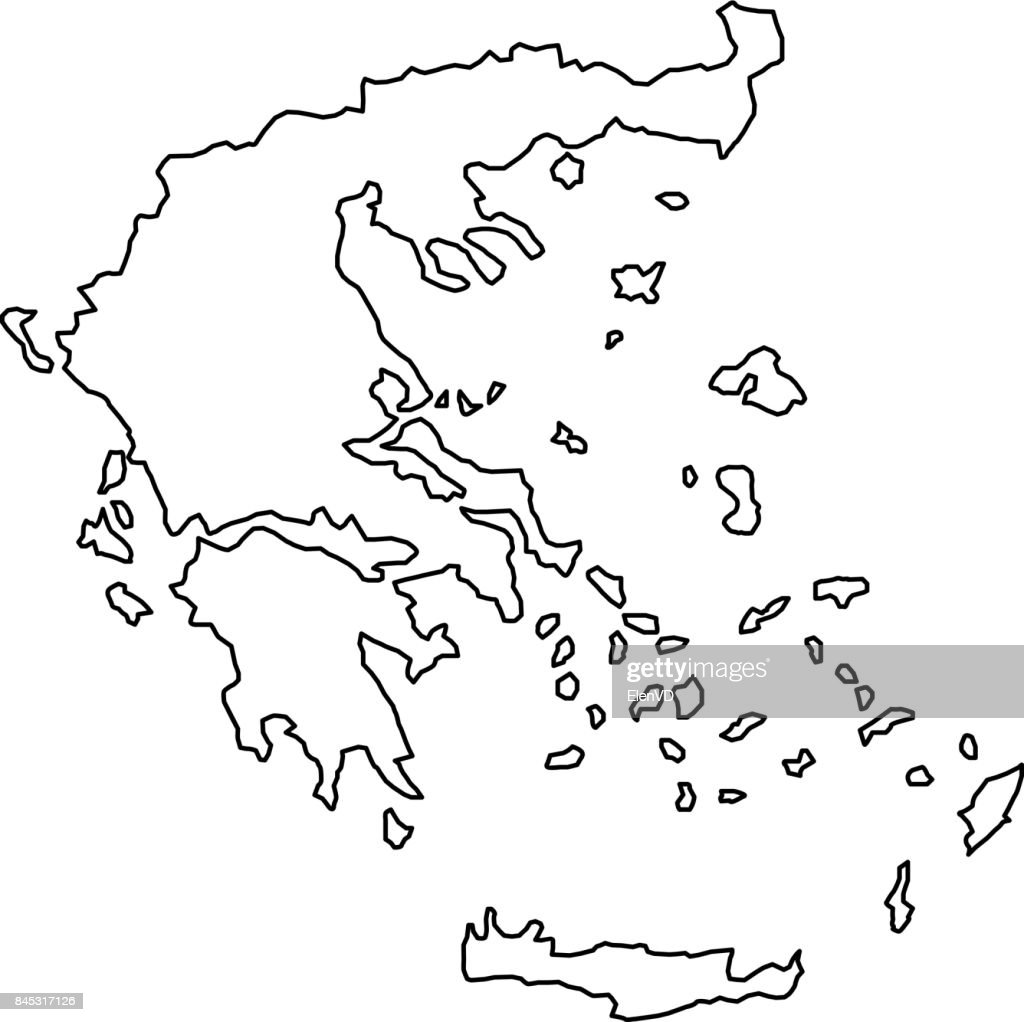 Greece map of black contour curves of vector illustration