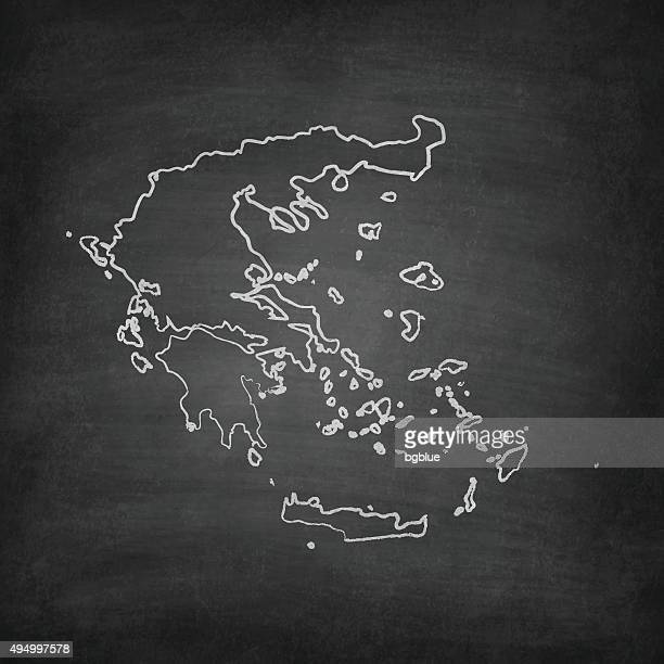 greece map on blackboard - chalkboard - athens georgia stock illustrations, clip art, cartoons, & icons