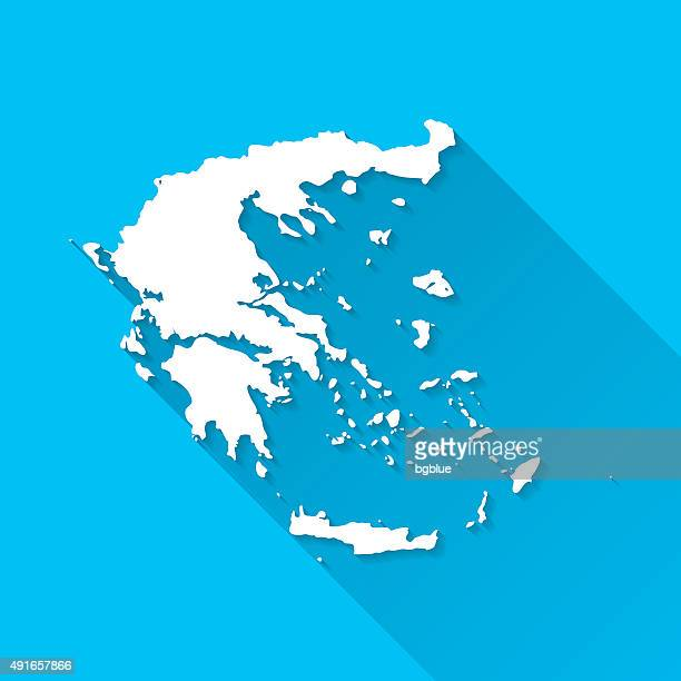 greece map on blue background, long shadow, flat design - athens georgia stock illustrations, clip art, cartoons, & icons