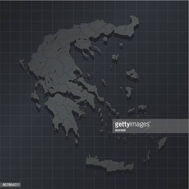 greece map on dark background with grid - thessaloniki stock illustrations