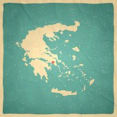 Greece Map on old paper - vintage texture